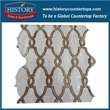 History Stone Certificated Shandong Manufacturer, Reasonable Price Honed Emperador and White Marble Arabesque Mosaic for Balcony, Corridor, Fireplace Decoration, Decorative Flooring Mosaic Tile