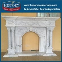 History Stone Chinese Hot-Selling High Quality Wholesale Indoor Used Products, Elaborate Design High Polished White Marble Top-Rated Arched Freestanding Floral Fireplaces, Mantel & Handcrafts