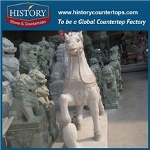 History Stone Chinese Hot-Selling New Design High Quality Wholesale Products, Yellow Granite Hand-Carved Exquisite Running War-Horses with Cheap Price, Animal Sculptures & Handcrafts