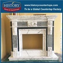 History Stone Chinese Hot-Selling Wholesale Products in Stock, High Quality Modern Style Luxury Design White Marble Western Mixed Color Carved Masonry Fireplace with Flowers, Mantel & Handcrafts