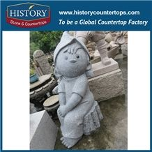 History Stone Chinese Hot-Selling Wholesale Products, Natural Granite Grey Color Hand-Carved Lovely Sitting Little Girl Statue for Decorations with Cheapest Price, Human Sculptures Handcrafts