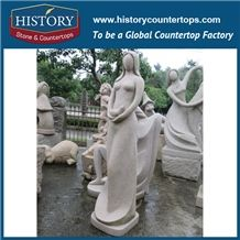 History Stone Chinese Hot-Selling Wholesale Products, Natural Granite Grey Hand-Carved Abstract Art Nude Lady with Pigeon Statue for Decorations with Cheap Price, Human Sculptures Handcraft
