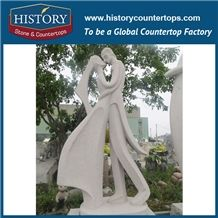 History Stone Chinese Hot-Selling Wholesale Products, Natural Granite Grey Hand-Carved Abstract Kissing Women and Men Statue for Decorations with Cheap Price, Human Sculptures Handcrafts