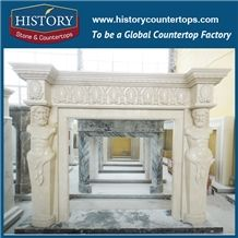 History Stone Competitive Price Wholesale Products, High Polished Beige Marble Amazing Freestanding Fireplaces Surround with Western Men Bust Statue, Mantel Surround & Handcrafts