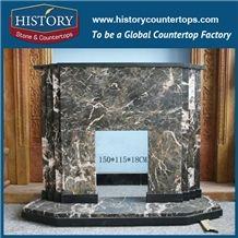 History Stone Competitive Price Wholesale Products, High Polished Green Marble Amazing Popular Arts Craft Design Freestanding Fireplace Surround and Frame, Mantel Surround & Handcrafts