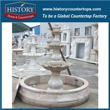 History Stone Fine Workmanship Cheap Fountain by Famous Producer in Guangdong, Natural Yellow Granite Three Layers Red Pedestal Fountain for Square, Park, Market, Stone Garden Fountain