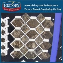 History Stone Guangdong Supplier with Factory Price Great Features, Dark and Light Emperador Hexagon Pattern Mosaic Tile with Low Price for House Decoration, Brown Marble Floor & Wall Mosaic