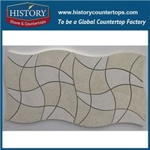History Stone Guangdong Supplier with Factory Price Quick Delivery, Bianco Carrara and Beige Rhomboid Mosaic Tile with Low Price for House Decoration, Natural Marble Floor & Wall Mosaic