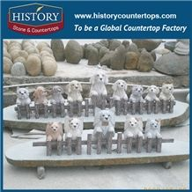 History Stone High Quality Cheap Price Wholesale Products, Natural Granite Grey Color Famous Customized Puppies on Stump Sculpture, Hot-Selling for Decorations, Animal Statue & Handcrafts