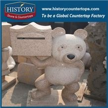 History Stone High Quality Cheap Price Wholesale Products, Natural Granite Yellow Color Famous Cartoon Bear with Mailbox Sculpture, Hot-Selling for Decorations, Animal Statue & Handcrafts
