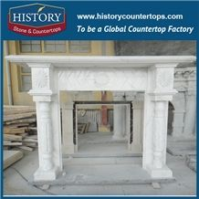 History Stone High Quality Cheapest Price Wholesale Home Decorative Products, Attractive Hot Selling Natural White Marble English Style Fireplace Masonry Fireplaces, Mantel Surround & Handcrafts