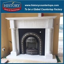 History Stone High Quality Cheapest Price Wholesale Home Decorative Products, Attractive Natural White Marble Top-Rated Arched Masonry Fireplaces, Hot-Selling, Mantels Surround & Handcrafts