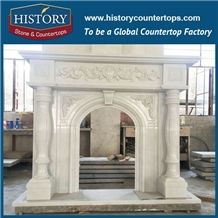 History Stone High Quality Cheapest Price Wholesale Home Decorative Products, Attractive White Marble Royal Design Exquisite Carved Arch Style Fireplace Frame, Mantel Surround & Handcrafts