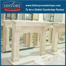 History Stone High Quality Cheapest Price Wholesale Home Decorative Products, Hot Selling Beige Marble English Style Luxurious Masonry Fireplaces Frame for Villa, Mantel Surround & Handcrafts