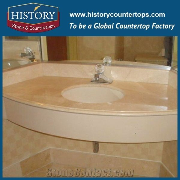 History Stone Hmj030 Crema Marfil Marble Standard Flat Edges Products  Factory Supply Molded Vanity Suite Solid Surface For Bathroom Vanity Tops,  ...