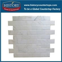 History Stone Home Design Natural Stone, Bianco Carrara Brick Style Linear Strip Mosaic Tile for Kitchen, Bathroom, Aquarium, Lobby Decoration, Decorative Floor & Wall White Marble Mosaic