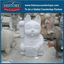 History Stone Hot-Selling High Quality Perfect Wholesale Products, Natural Grey Granite Vivid Fortune Cats Statue with Cheap Price for Garden, Zoo, House Decorations, Animal Sculptures & Handcrafts
