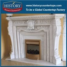 History Stone Hot-Selling High Quality Perfect Wholesale Products, Natural White Marble Luxury Design Carved Statue Fireplaces with Factory Price for House Decorations, Mantel Surround & Handcrafts