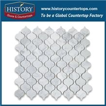 History Stone Made in China Warehouse Clearance, New Trend Polished Natural Bianco Carrara White Marble Home Decoration Mini Lantern Shaped Pattern Best Mosaic Tiles Arts, Wall & Flooring Mosaic