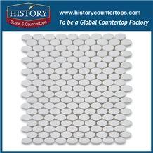 History Stone Premium Tiles Quanzhou Supply, New Pattern Natural Polished White Thassos Marble Ellipse Oval Pattern Mosaic for Kitchen Backsplash, Wall Cladding, Subway Floor, Murals & Flooring Mosaic