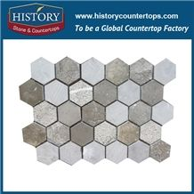 History Stone Up-To-Date Design High Reputation Wide Selection, Natural Bianco Carrara Marble Mixed Color Hexagon Mosaic Tile for House Decoration, Stone Floor & Wall Mosaic Tile