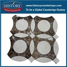 History Stone World-Reputed Xiamen Manufacturers Outstanding Features, Bianco Carrara and Emperador Marble Penny Round Non-Slip Mosaic Tile with Competitive Price, Floor & Wall Mosaic