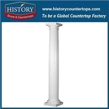 History Stones 2017 Popular New Design Pure White Marble Stone Customized Home Decorative Nice Roman Art Square Pillars Sculptured Column