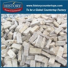 History Stones China Natural Granite Flamed Surface Cut to Size Light Yellow Flooring Tiles, Groove Panels, Side Pavement, Floor Covering, Walkway, Rain Drainage Pavers Street Road Cube Stone& Pavers