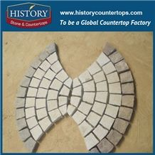 History Stones Chinese Manufacture Natural Flamed Fan Shaped Light Yellow Beige Granite Terrace Floors, Driveway Covering, Waterproof Patio Flooring, Paving Sets, Rain Drainage Cube Stone & Paver