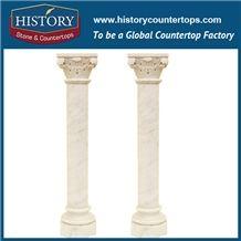 History Stones European Roman Indoor Solid Decorative Galala Beige Marble Carved Pillar Garden Using Home Balcony Construction Decoration Column