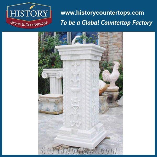 Home U003eu003e Column U003eu003e History Stones Outdoor Decorative Column For Homes Pillar  Exquisite Design Stone Pure White Marble Stone Entrance Gate Pillar