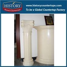 History Stones Polished Galala Beige Marble Interior Design Decorative Square Column with Sculptures Four Season Gods Figure Gate Pillar Columns