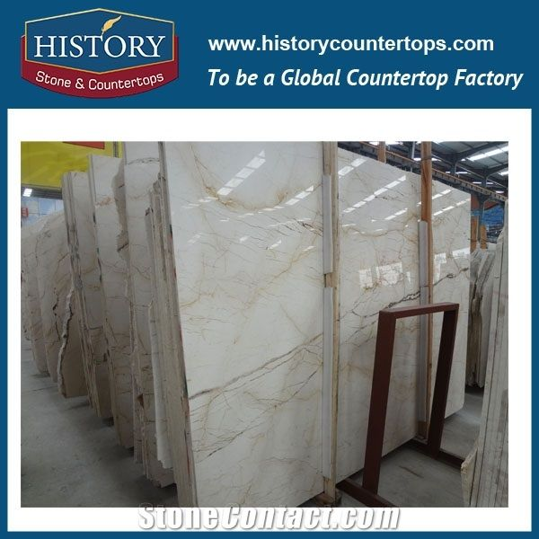 Historystone Imported Sofita Gold in Turkey Lightweight Flexible Poished Marble Wall and Floor Tiles \u0026 Slabs for Hotel LobbyGolden Yellow Lines is a Very ...
