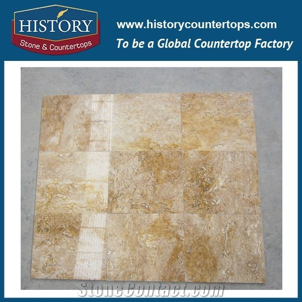 Historystone Yellow Travertine China Be Widely Used Flooring Tiles