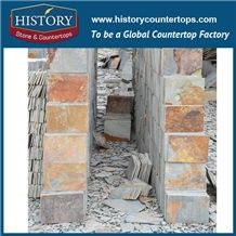 Natural Split Golden and Grey Rusty Standard Slate Wall Tile Sizes 30x30, Slate Stone Floor Covering