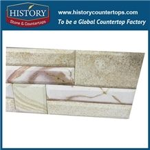 Polished Colorful Sandstone Interlocking Feature Wall Cladding, Decorative Panels and Veneers