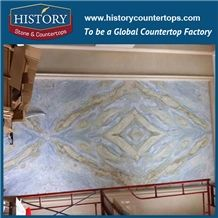 Polished Natural Stone Chinese Supplier Blue Azul White Marble Slabs for Floor Tile and Stairs, Wall Cladding and Fireplace Background,Talli Blue Ocean Color Marble
