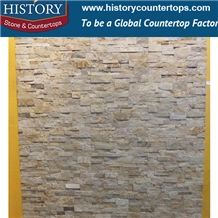 Rough Slate Stacked Yellow Wood Color Wall Cladding, Culture Stone