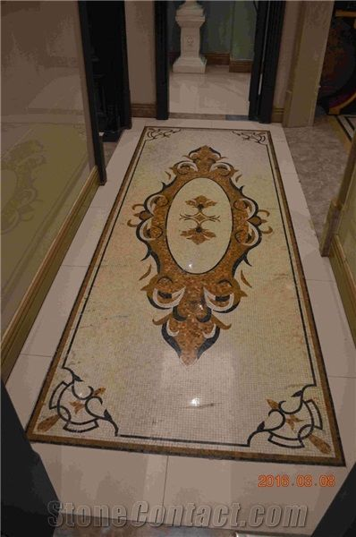 Flower Design Water Jet Mixed Marble Mosaic For Hall Flower