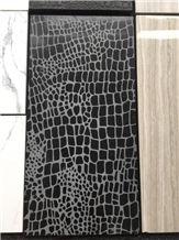 Crocodile Surface, Leather Surface Black Marble Tile &Slab