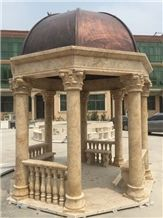 Beige Travertine Hand Carved Gazebo