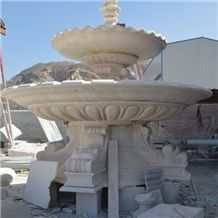 Custom Water Fountain, Yellow Marble Water Fountain/Feature, Carved Stone Fountain, Statue Fountain