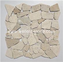 Natural Travertine Mosaic Tile,China Honed Multicolor Mosaic Tile,Wall Covering Mosaic Tile