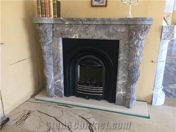 Grey Marble Handcarved Fireplace Cover Surround Polished Sculptured Hearth