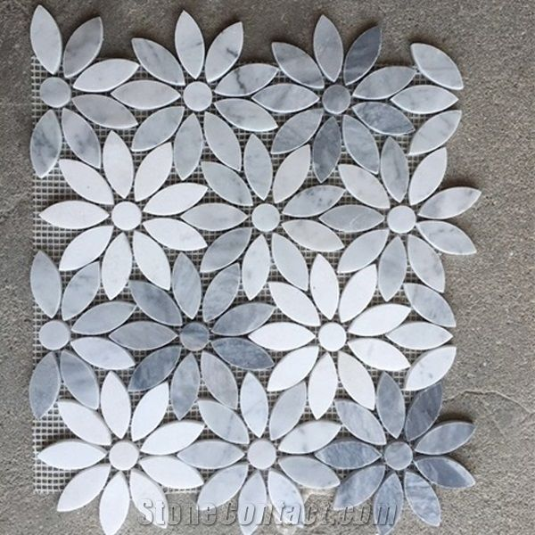 Italy Grey Carrara White Crystal White Marble Flower
