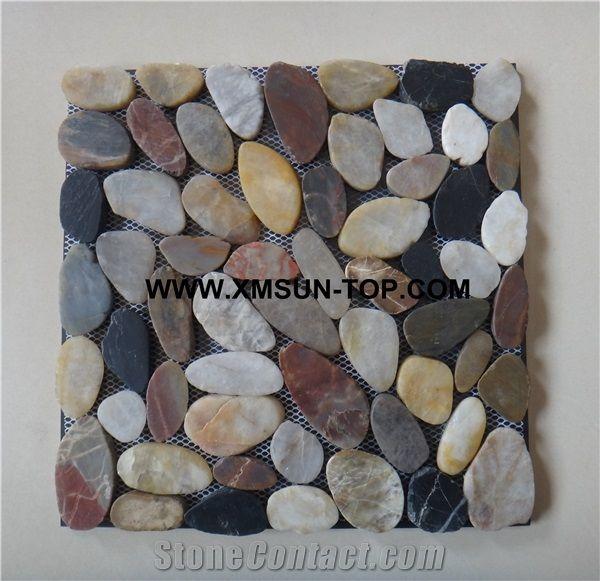 Polished Pebble Sliced Mosaic Tile