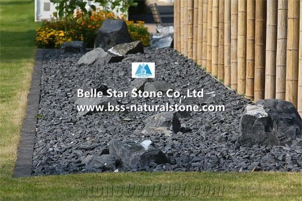 Chinese Black Slate Flower Bed Stone Gravels Crushed Chippings Garden Landscaping