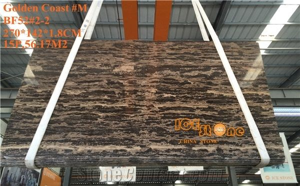 China Golden Coast Marble Tiles Slabs Gold Floor Covering Brown