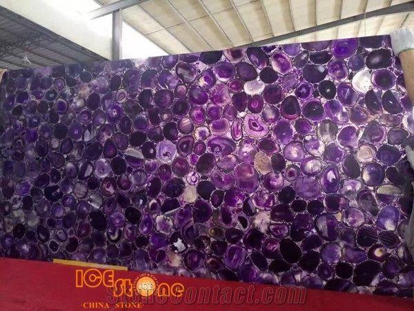 Purple Agate Semiprecious Slab Gemstone Tiles Semi Precious Slabs Stone Home And Hotel Decoration Materials Wall Flooring Covering