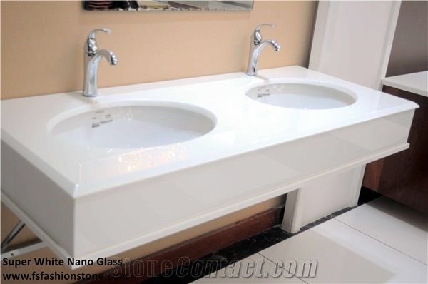 White Nano Glass Artificial Marble Bathroom Counter Tops ManMade - Fake marble bathroom countertops
